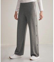 pantaloni palazzo logo in cashmere