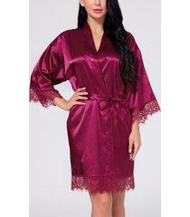 detalles de encaje burdeos satinado túnica pijama