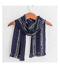 cotton scarf, 'ocean subtlety' (guatemala)