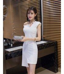 pf251 sexy single/slopping shoulder asymmetrical blouse  size s-xl, white