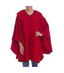 alpaca blend cape, 'red divine' (peru)
