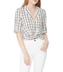 bcbgeneration cropped plaid boyfriend shirt
