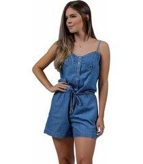 macaquinho jeans zayon azul - feminino