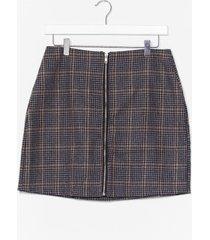 womens check zip through mini skirt - grey