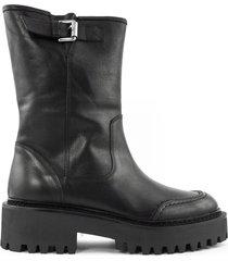 vic matié black leather side buckle boots