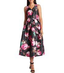 tahari asl floral-print jacquard a-line dress