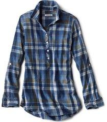 washed plaid tunic shirt