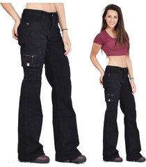 plus size women's fashion black wide loose combat trousers cargo jeans pants