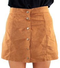 skirt for women sexy faux suede a-line high waist button mini skirt