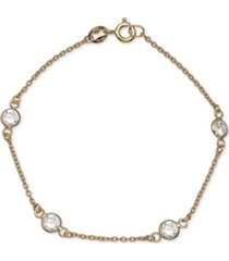 giani bernini cubic zirconia station bracelet in 18k gold plated sterling silver, created for macy's