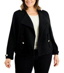 calvin klein plus size open-front knit jacket