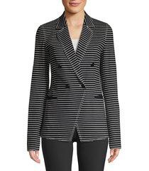 lafayette 148 new york women's devin asymmetric striped jacket - black - size 8