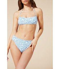 calzedonia martina crop bikini top with removable padding woman blue size 1