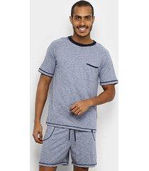 pijama lupo curto algodão costura mescla masculino - masculino