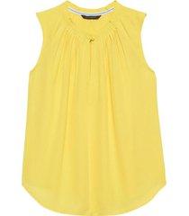 blusa pleated neck top amarillo banana republic