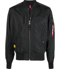 alpha industries black ma-1 parachute bomber jacket