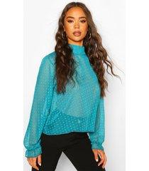 dobby mesh high neck blouse, blue
