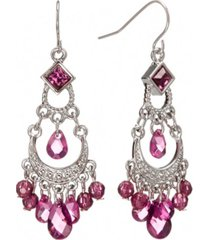 2028 silver-tone amethyst purple crystal chandelier earrings