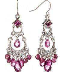 2028 silver-tone amethyst purple crystal chandelier earrings
