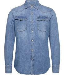 3301 slim shirt l\s skjorta casual blå g-star raw