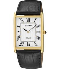 seiko men's solar black leather strap watch 29mm sup880