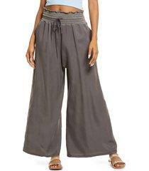 women's free people mia wide leg twill pants, size x-small - green
