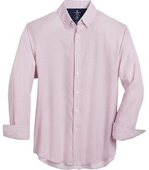 con. struct men's pink gingham four-way stretch slim fit sport shirt - size: large