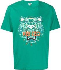 kenzo tiger head print t-shirt - green