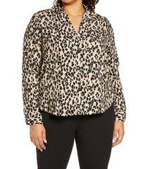 plus size women's halogen v-neck top, size 3x - brown