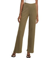 aware by vero moda peace high waist organic stretch cotton palazzo pants, size x-small in ivy green at nordstrom