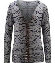 stickad kofta med nitar amy vermont grå::svart::lila