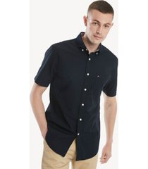 tommy hilfiger men's classic fit essential short-sleeve solid shirt sky captain - xxxl