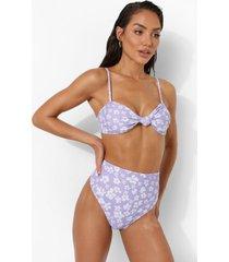 opgeknoopte strapless bloemen bikini top, lilac