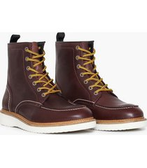 selected homme slhteo leather moc-toe boot w kängor ljus brun