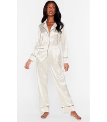 womens but first sleep contrasting satin pajama set - cream