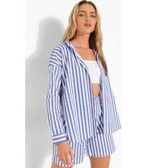 oversized gestreepte blouse en shorts, blue