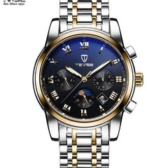reloj, relojes mecánico automático de acero del-dorado