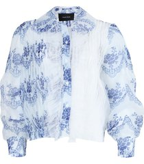 white and blue sheer ruffled blouse