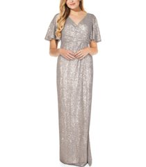 adrianna papell sequin draped gown