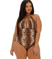 nevada snakeskin high neck one-piece swimsuit