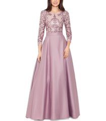 betsy & adam sequined top ball gown