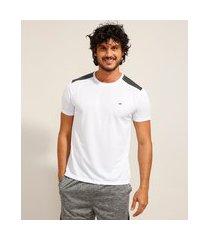 camiseta masculina esportiva ace com recorte manga curta gola careca branca