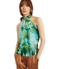 i.n.c. petite printed sleeveless smocked-hem halter top, created for macy's