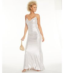 eliza j ruched metallic gown