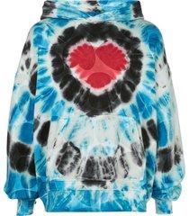 amiri hearts tie dye oversized hoodie - blue