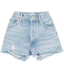 agolde distressed denim shorts - blue