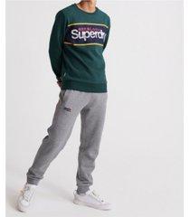 superdry men's core logo stripe crew sweatshirt