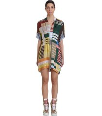 rick owens sail mini dress dress in multicolor tech/synthetic