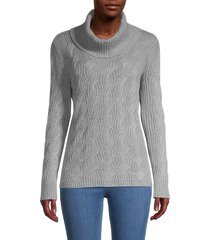 calvin klein women's chain-stitch turtleneck sweater - heather latte - size l