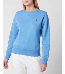 polo ralph lauren women's logo sweatshirt - harbour island blue - l